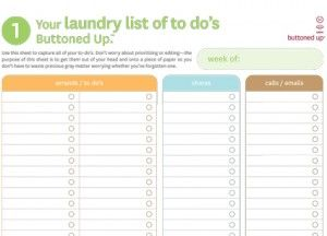 Tool: Free Printable Laundry List of To Do's and To Do Itinerary Form | Buttoned Up