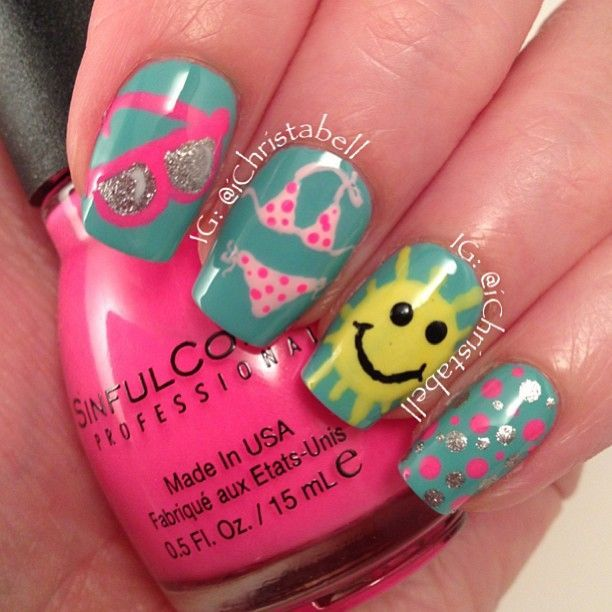awesome Beach Nails...cute VACATION NAIL ART by christabell nails #summer...