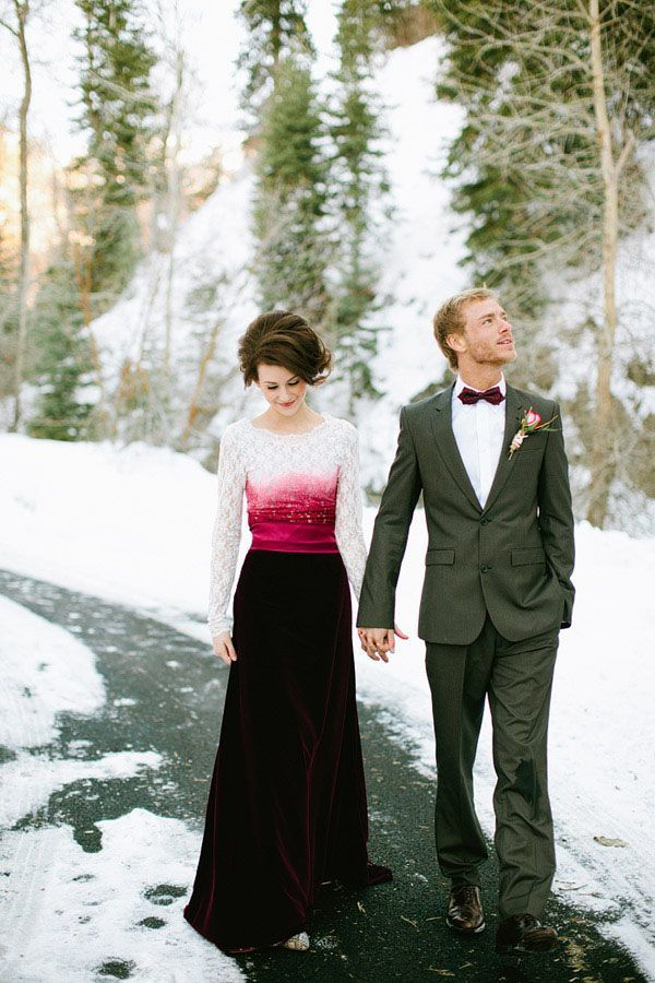 This #marsala inspired dress would be perfect for a #winter #wedding.