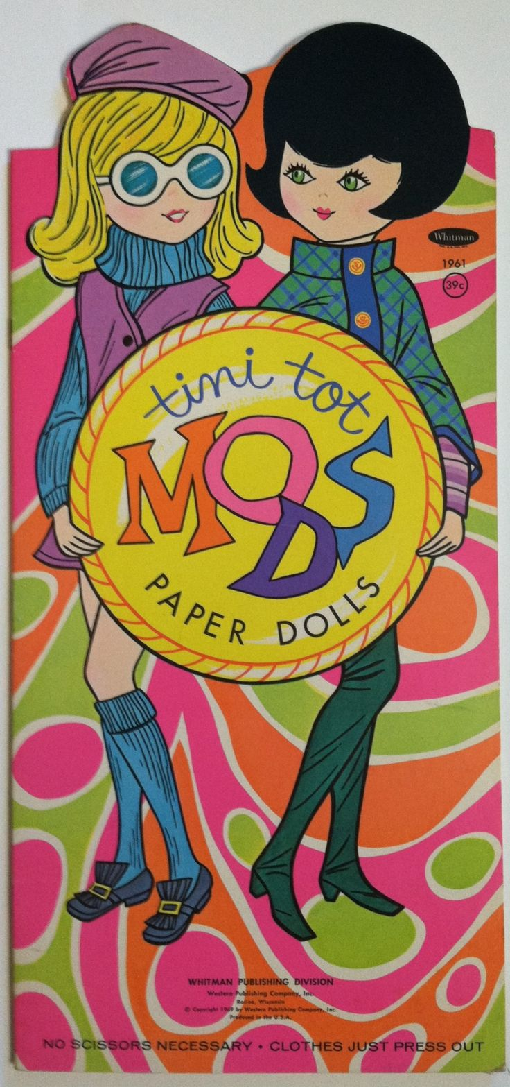 Whitman hot wheels coloring book - Tini Tot Mods Paper Dolls 1969 Whitman
