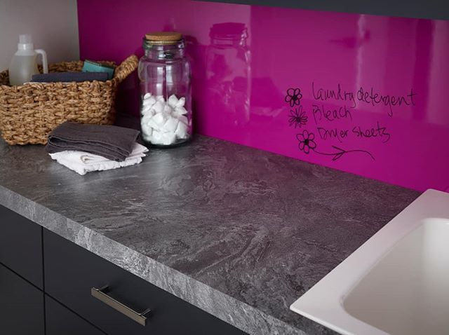 Did you know that ALL @formicagroup Gloss (90 finish) laminate works as a markerboard??? Pair that with one of their new Living Impressions patterns like this Silver Galaxy Slate and spice up your laundry room playroom craft room garage and more! #laminate #countertops #markerboard #livingimpressions