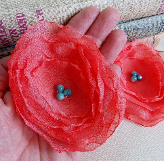 Chiffon Fabric Flower Coral Pink Layered Flower Poppy Coral Wedding Decor Hair Accessory DIY Crafts Bridal Pink Turquoise Aqua Applique