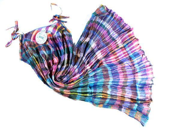 VINTAGE 70s Plaid katoen gaas jurk Multicolor Rainbow door Nuvegriz