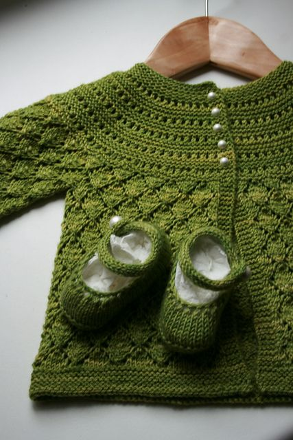 Ravelry: lucille baby cardigan (free pattern). Would love this in a different color.