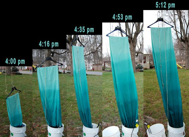 Dip dye fabric. This same technique could probably also work with bleaching paper (MUCH shorter time scale) or staining wood.