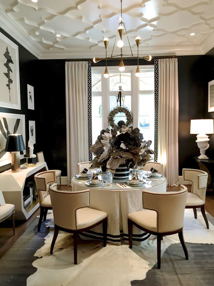 Dining room with black walls and white furniture at the atlanta holiday home 2014 dining room - Dining room tables atlanta ...