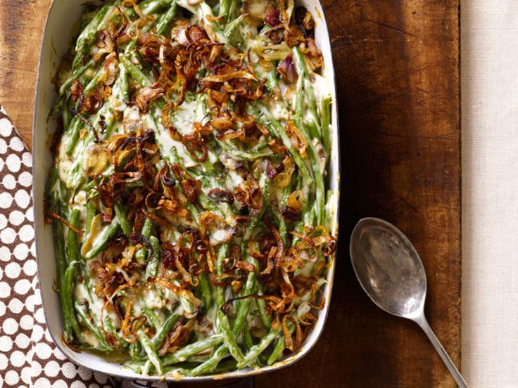 Green Bean Casserole With Crispy Shallots : Skip the soup in a can in this quintessential Thanksgiving side dish and make a creamy sauce using low-fat milk instead.