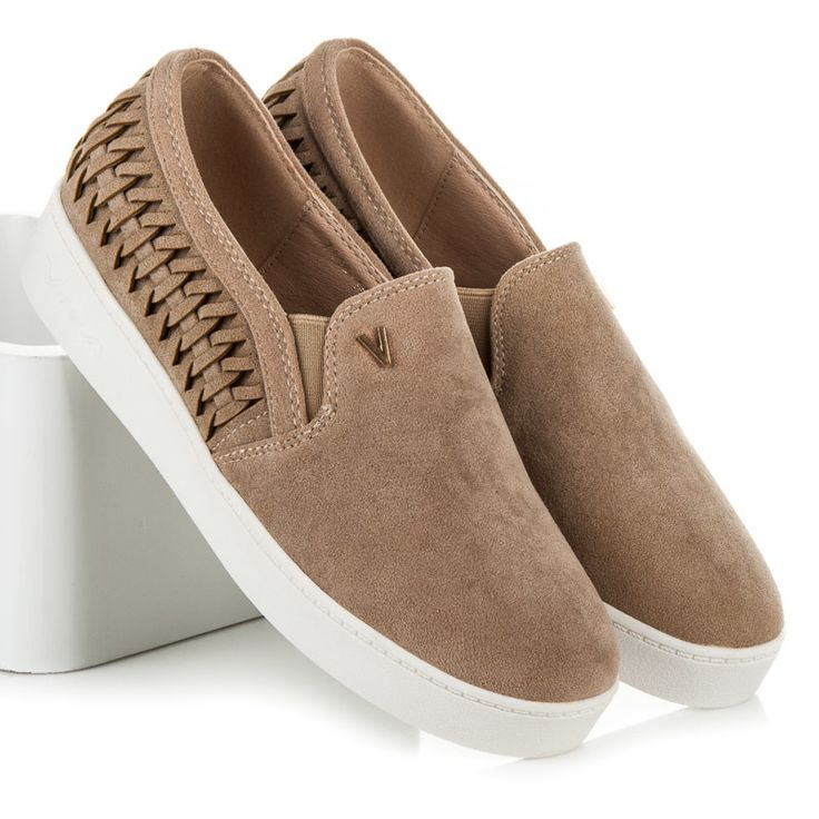 Suede sneakers on the platform  Comfortable yet stylish sports shoes that can be combined with sporty and elastic clothes thanks to classic fashion. Shoes in a universal beige color with a lovely braid will be friendly for any aesthetics and comfort. https://www.cosmopolitus.com/zamszowe-slipony-platformie-odcienie-brazu-bezu-711614be-p-250276.html #beige #suede #platform #shoes #comfortable #autumn #cheap #shoes
