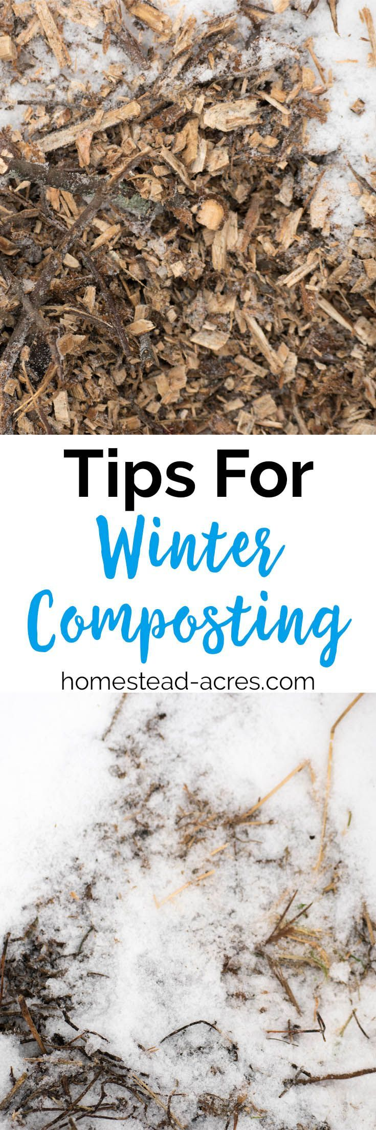 Winter composting tips for beginners. Learn how to make compost even in cold weather so you have nutrient rich fertilizer for your spring garden. #gardening #composting #homesteading https://www.homestead-acres.com/winter-composting-tips/?utm_campaign=coschedule&utm_source=pinterest&utm_medium=Kim Mills   Homestead Acres   Homeschooling + Homesteading Tips&utm_content=Winter Composting: 5 Tips To Keep Your Compost Pile Active In Cold Weather