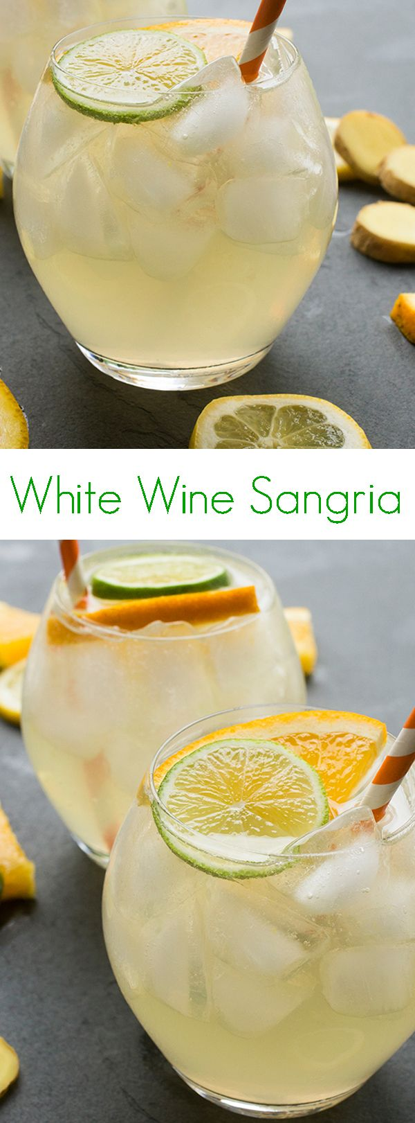 This sparkling white wine sangria is made with ginger beer and three types of citrus juice. This recipe is ideal for entertaining a crowd!
