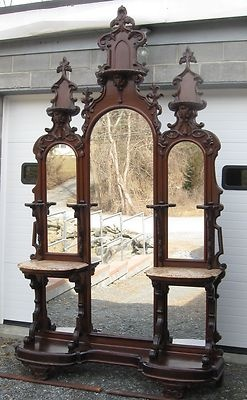 Victorian Walnut Entry Hall Mirror ***The mirrors at the bottom were to check that your petticoat wasn't showing.***