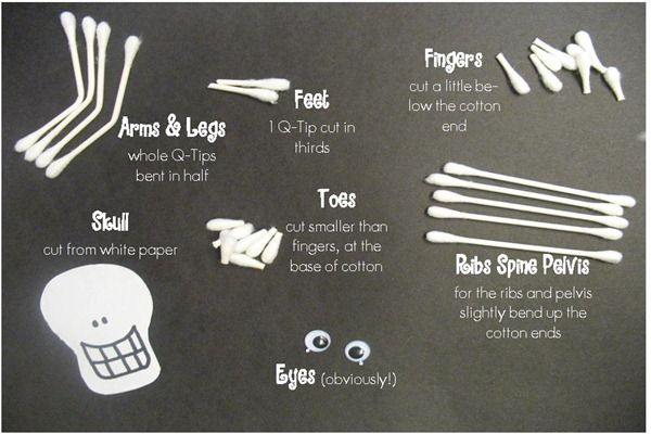 Materials for Q-tip Skeleton - going to do this at Kami's preschool halloween party