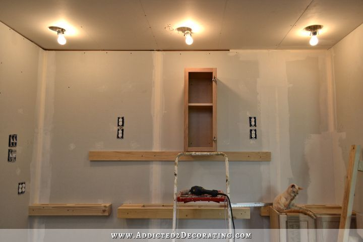 Wall Of Cabinets Installed Plus How To Install Upper