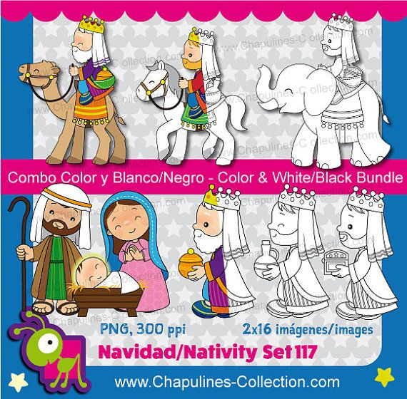 Nativity Clipart Bundle Color and Black/White Christmas