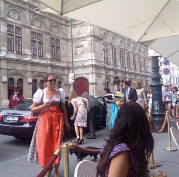 And this is Emma leaving her hotel in Vienna.
