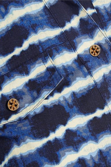 Tory Burch - Derrick Tie-dyed Stretch-cotton Poplin Shirt Dress - Navy