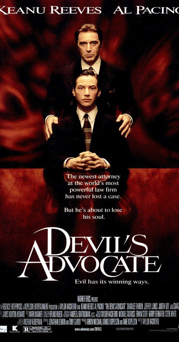 Directed by Taylor Hackford.  With Keanu Reeves, Al Pacino, Charlize Theron, Jeffrey Jones. An exceptionally adept Florida lawyer is offered a job to work in New York City for a high-end law firm with a high-end boss - the biggest opportunity of his career to date.