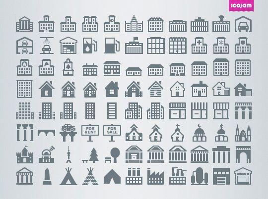 Eldorado mini Buildings icon set