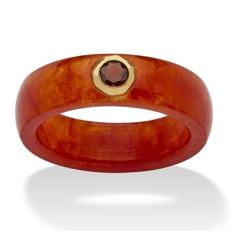Genuine Red Jade and White Bezel-Set Topaz Accent in 10k Yellow Gold Ring: