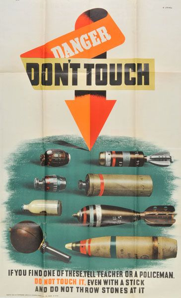 DON'T TOUCH THE MINES   UK WWII: Abram Games, 1943