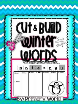 Word Building- Winter Cut and Build  This activity is a great exercise in combining sounds and creating words! Cut the scrambled letters and arrange into 1 ,2,3,4,5,6,7, or 8 letter words.  Record the words built under the correct column.I encourage my students to look for word families, vowel pairs, and rhymes.