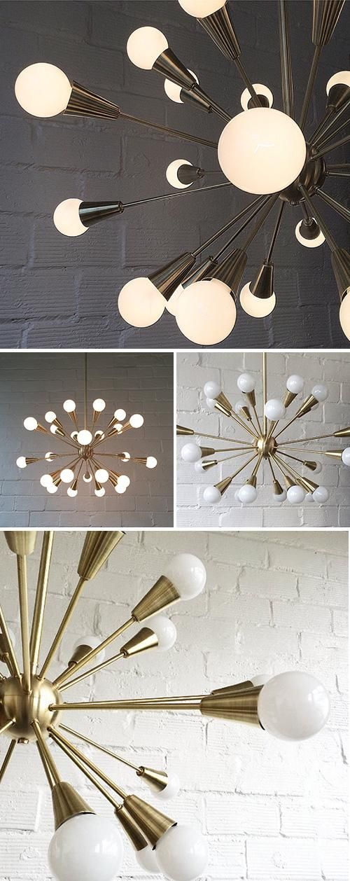 Object and Light's midcentury-inspired brass chandelier gives good glow. #etsyhome