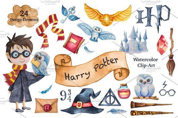 Harry Potter Watercolor Clip Art Harry Potter Watercolor Harry Potter Stickers Harry Potter Painting