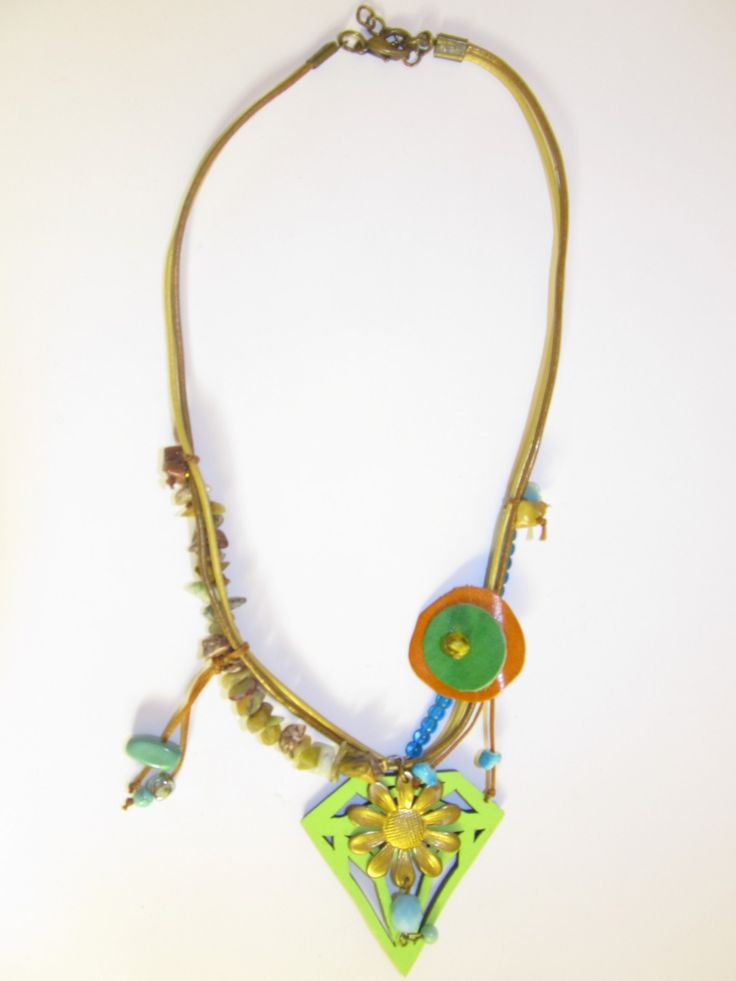 Handmade short leather necklace (1 pc)  Made with light green leather filigree, leather cords, vintage brass metal flower, glass beads, semiprecious stones, leather parts and wax cords.