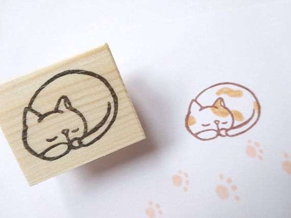 Hey, I found this really awesome Etsy listing at https://www.etsy.com/listing/185389480/sleeping-cat-stamp-adorable-kitten-lazy