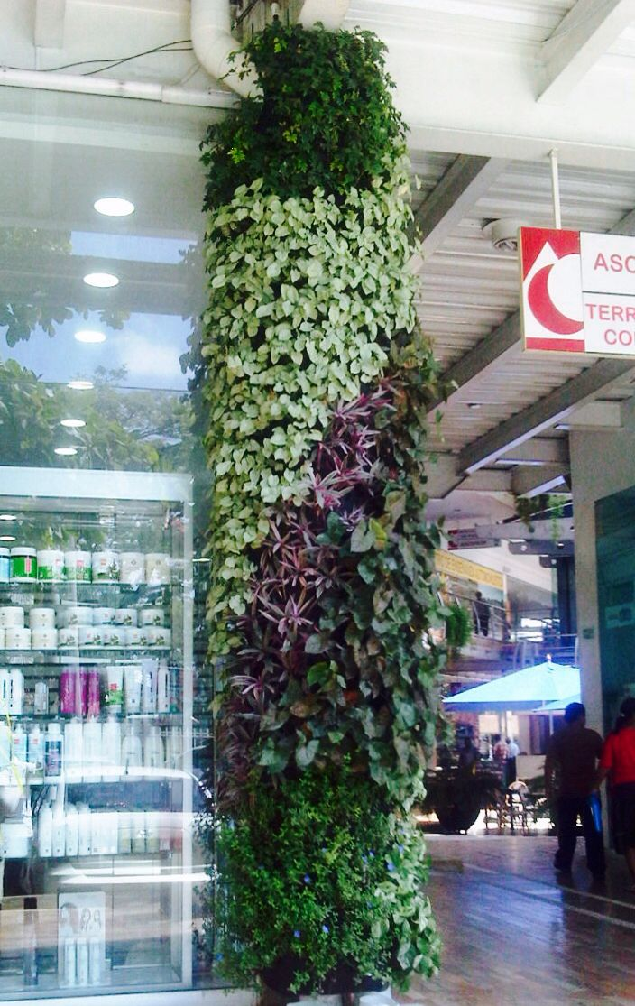 Jardin vertical en columna jardines verticales pinterest for Jardin vertical artificial