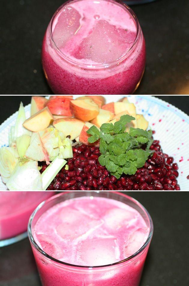 Fabelagtig og forfriskende juice med granatæble, et strejf af mynte og en fortryllende rød farve.