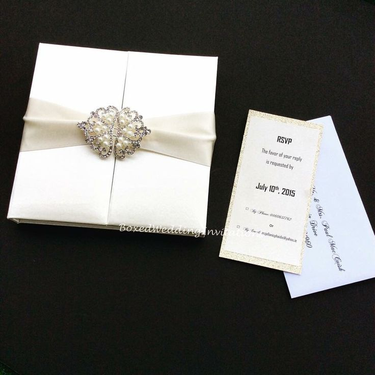 Ivory Silk Invitation Box Gatefold Invitation