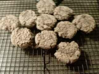 Baby Cereal Cookies - no sugar!  I just made these for my 1-year old but added a baby food jar of applesauce, and flattened the dough before baking (the recipe doesn't specify to). Baby-approved!!