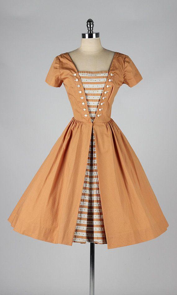 vintage 1950s rust colored cotton dress