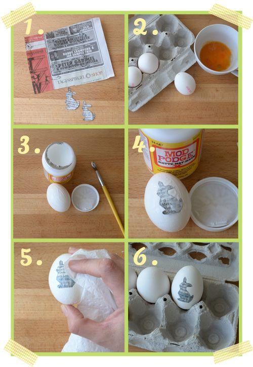 Eieren versieren met haasjes uit krantenpapier