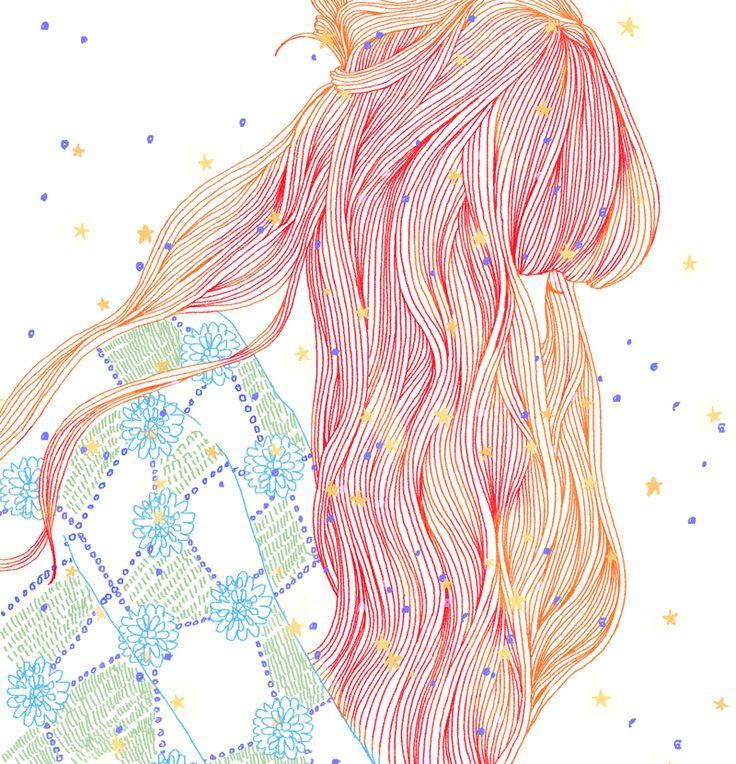 I LOVE YOU by Hajin Bae | Inking | Ink | Paint | Hair | Illustration | Ilustração | Drawing | Draw | Desenho | Pastel |