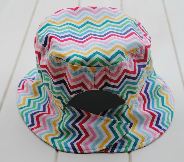 Rainbow chevron ponytail hat