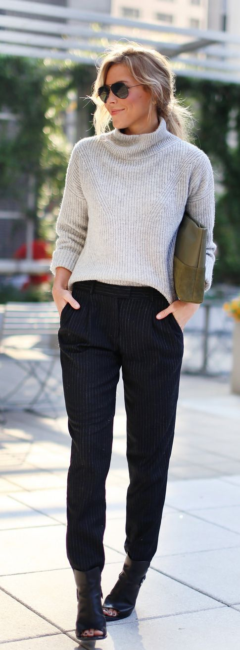 Any of my black pants with my grey top and brown booties.