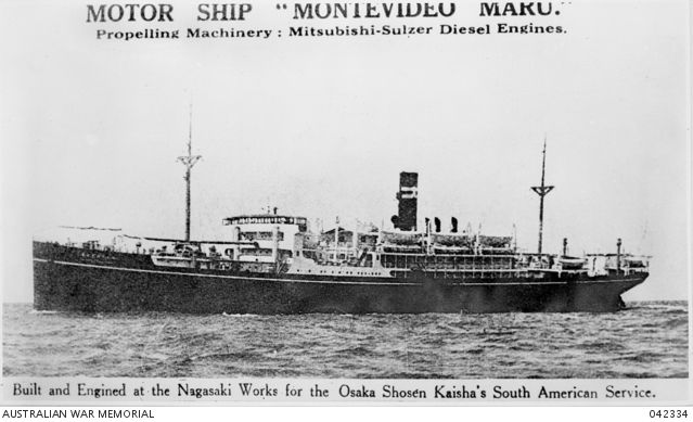 The infamous 'Montevideo Maru'.  On 22 June 1942 about 845 POWs and 209 Australian & Norwegian civilians captured in NG by Japanese forces left from Rabaul, New Britain, aboard this ship. The POWs were members 2/22 Bn, and other units of Lark Force. Civilians included officials of the New Guinea Administration and missionaries. The ship sailed  for Hainan Island on 1 July 1942. All prisoners died when it was torpedoed by US  submarine, USS Sturgeon, off Luzon Island, Philippines.