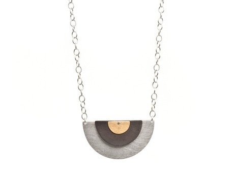 'Deco neckpiece' by Emma Grace Sterling silver, oxidised silver, 18ct yellow gold Available online and in store http://egetal.com.au/store/product/EKG064