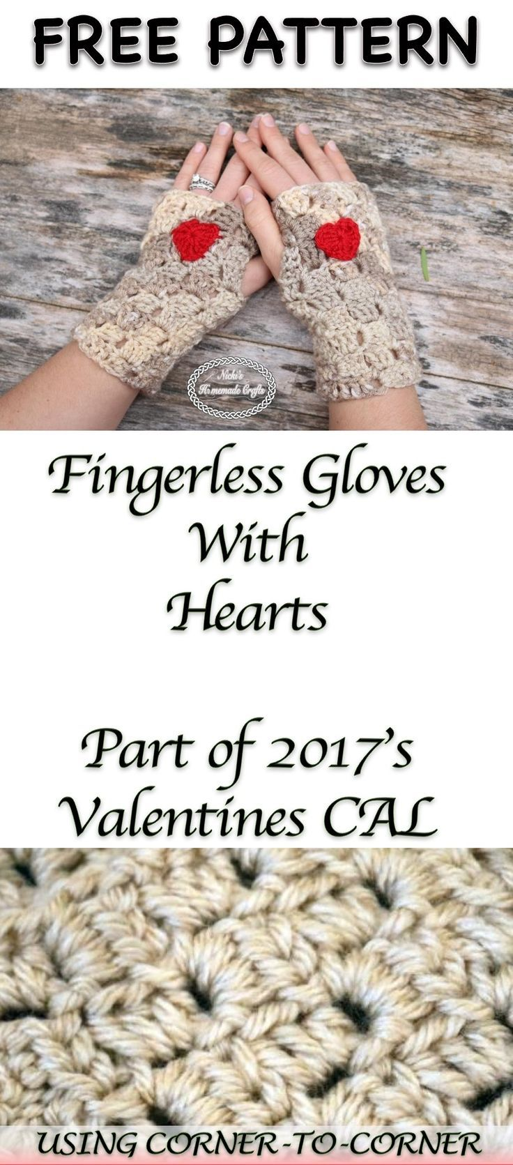 2017 05 fashion flowers to crochet - Fingerless Gloves With Hearts Free Crochet Pattern As Part Of The 2017 S Valentine S Cal By