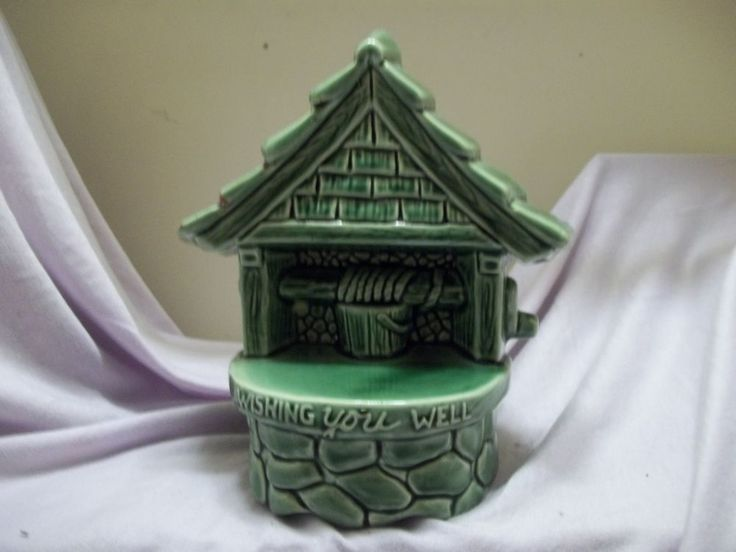 Vintage McCoy Pottery Green 1950's Wishing You Well 200 Planter