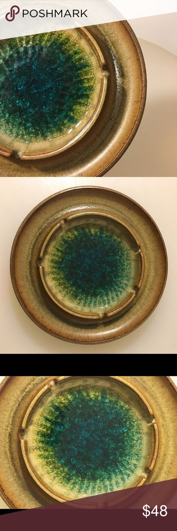 Vintage Robert Maxwell Ceramic Ashtray This piece is a treasure! Robert Maxwell's pottery is well known and very collectible. This ashtray shows why with a great matte brown glaze and amazing bluish green glass to accentuate the piece! Perfect for any mid century modern enthusiast or anyone with great taste! Measures 7.5 inches wide Vintage Other