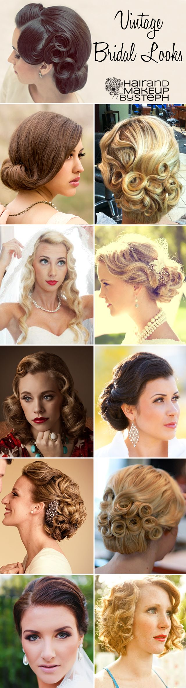 Vintage bridal looks via blog.hairandmakeupbysteph.com; wedding hair, hairstyles, updos, bride, wedding