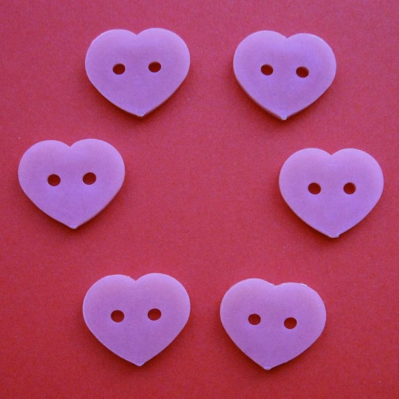 6 Vintage Pink Heart Shaped Buttons 3/4 Inch by ChockaBlock, $1.50