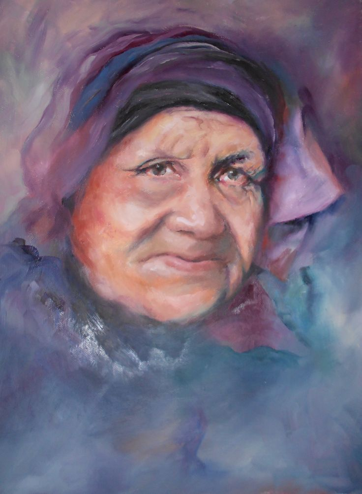 """""""the lady who travelled life"""" oil on canvas portrait"""