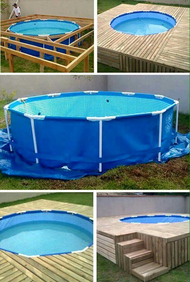 Use Pallets To Make A Deck Around An Above Ground Pool