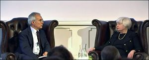 Janet Yellen at London Conference on June 27, 2017 with Nicholas Stern, President of the British Academy