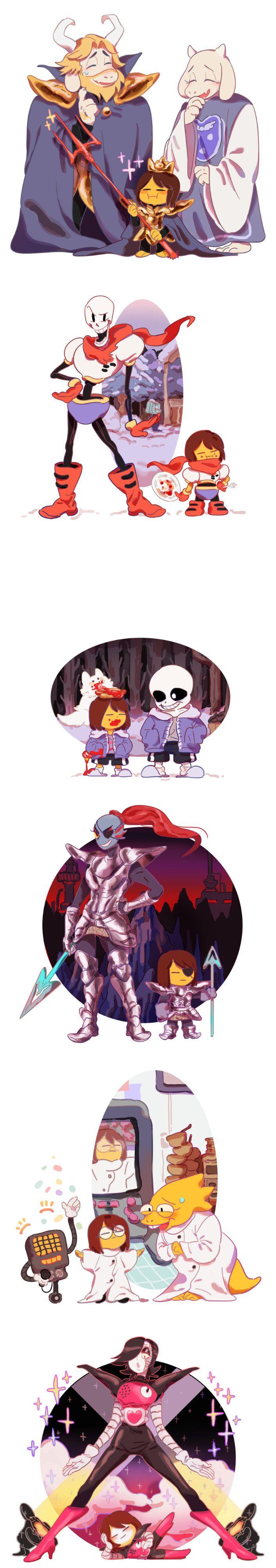 Frisk with Asgore, Toriel, Papyrus, Sans, Undyne, Alphys, and Mettaton - http://mel12da.tumblr.com/post/133544175515/new-little-king-skull-friend-great-hero-dr