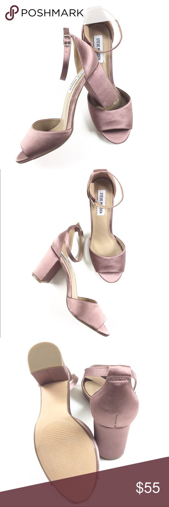 Steve Madden Heels NWOT Steve Madden satin pink heels with a minimalist look.  Features an adjustable ankle-strap and is set on an on-trend chunky heel. Size 8. Retail $89.50. Steve Madden Shoes